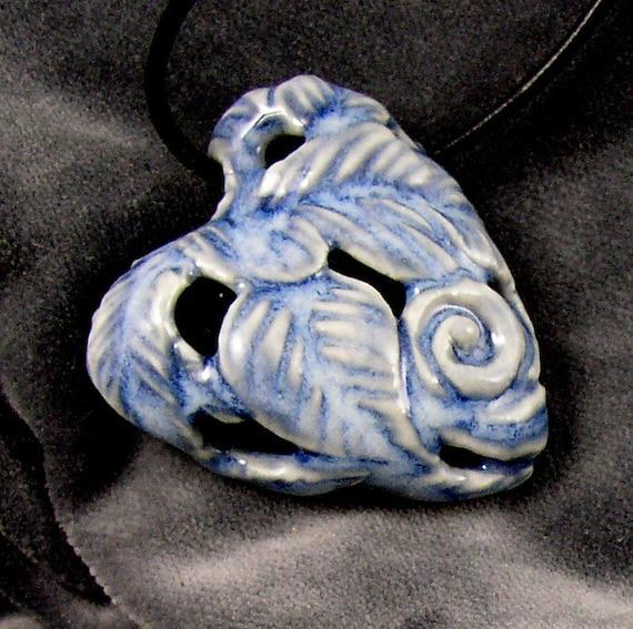 Blue denim porcelain glazed carved heart pendant