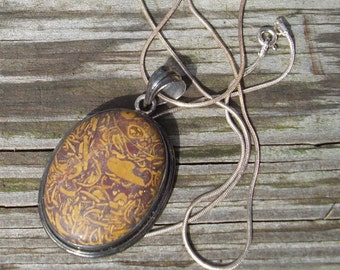 Script Stone Pendant Necklace