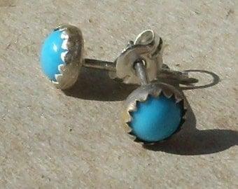 Sleeping Beauty Turquoise Sterling Silver Earrings