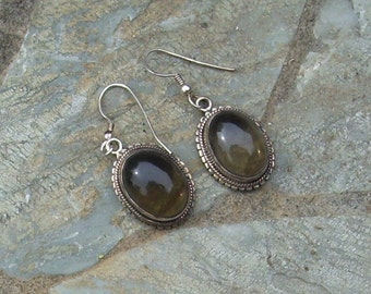 Smoky Quartz Oval Earrings   008
