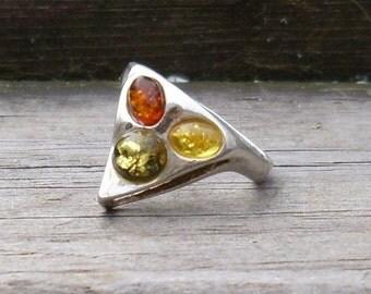 Rainbow Amber Ring