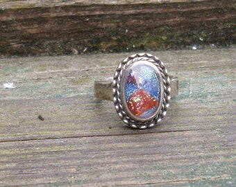 Glass Cabochon Red, White and Blue  Ring  Dichroic glass