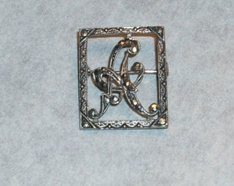 "Sterling silver ""A"" marcasite pin"