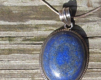 Lapis with flecks of Pyrite- Sterling Silver Pendant