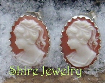 Pink Victorian Lady Cameo Earrings