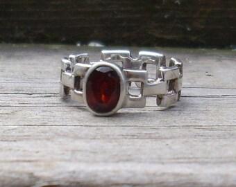 Handmade Garnet  Sterling Silver Ring