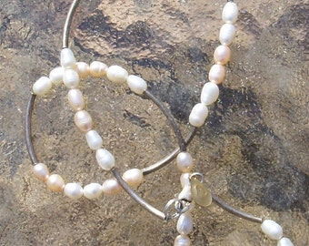 Pink and White Pearls and Sterling Silver Necklace