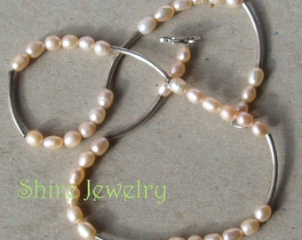 Pink Fresh Water Pearls and Sterling Silver Necklace