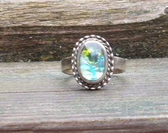 Green, silver and Blue Glass Cabochon   Ring  Dichroic glass