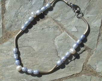 Powder Blue Pearls with white tear drop Pearl Accent and silver    905