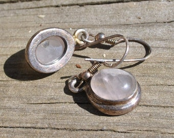 Rose quartz earrings with Sterling Silver 002