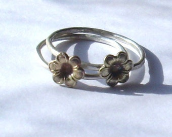 Little Flower- Sterling Silver and Brass -Stacking Ring