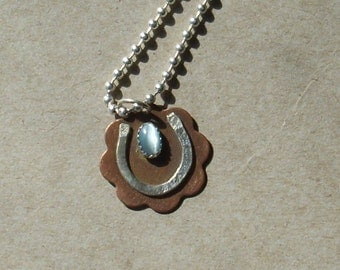Horse Shoe Necklace with Cat's Eye Stone