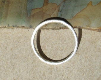 Single Hammered Sterling Silver Stacking Ring