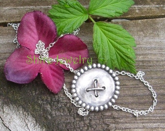 Sterling Button Necklace