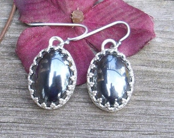 Hematite and Sterling Earrings