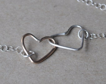 Gold and Silver Mommy and Me Necklace - Double Hearts Necklace