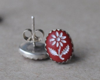 Red and White Vintage Intaglio Flower Cabochons set in Sterling Silver