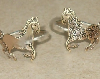 Curly or Smooth Horse Sterling Silver and Brass -Stacking Ring