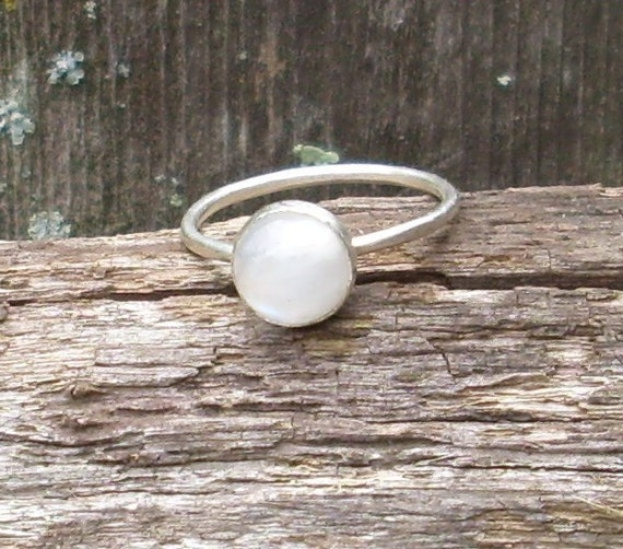 Round Rainbow Moonstone Sterling Silver Stacking Ring