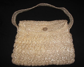 Vintage large white, woven synthetic straw bag, purse 1950 - 1960