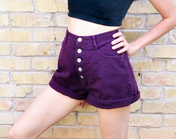 90s High Waist Purple Denim Shorts Womens Small