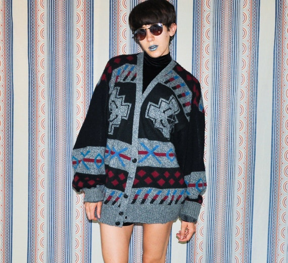 90s Navajo Mens Button Up Cardigan Sweater XL