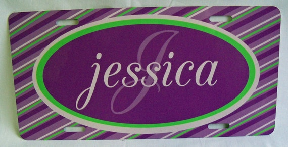Monogramed Car Tag - License Plate - Name/Initial - Purple/Lime Green/White - Custom