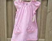 Sz 3 New Summer Gingham Pink Boutique Handmade Fresh Comfy Country Girl Dress 2T 3T short sleeves Cotton