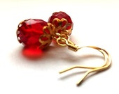 Red glass earrings - rich ruby red drops with vintage style gold settings