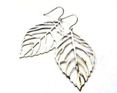 Leaf earrings - silver dangles, nature jewelry gift for her - Christmas holiday stocking stuffer