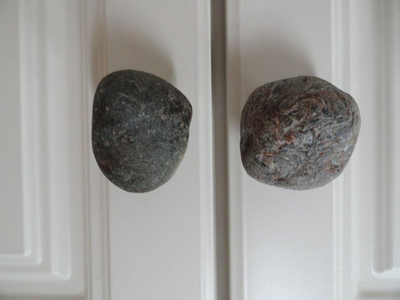 Knobs - Drawer or Cabinet - Natural River Stone  --Sets of Two -- Handmade