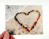 Beach Greeting Card. Heart Photograph. Blank Photo Notecard. Wedding Anniversary Birthday Card. Coloful Rocks.