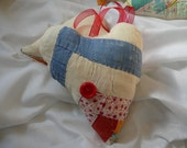 Decorative Quilted Heart--Made From a Vintage Log Cabin Cutter Quilt
