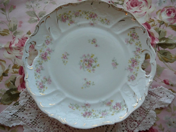 Porcelain Plate:  From Germany With Delicate Pink Cottage Roses
