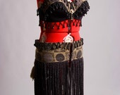 Black, Grey, & tan Plus size Tribal Belly dance Costume