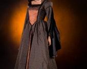 Black and Bronze Tudor style Steampunk Dress