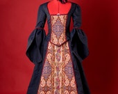 Navy Blue and Red Victorian Reversible Bustle Dress