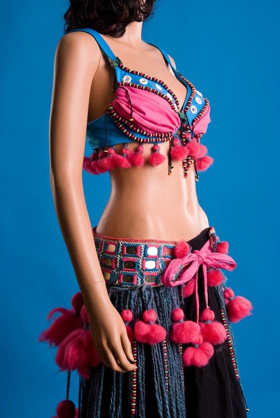 2 Piece Cotton Candy Pink, Blue ATS Tribal Bellydance Belt & Bra Fusion