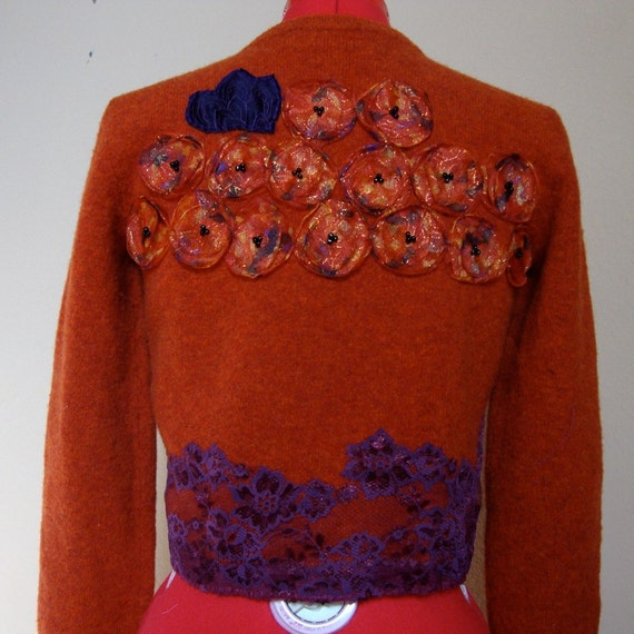 Orange altered Ralph Lauren 100% lambs wool sweater hand embroidered spirograph purple lace beaded poppies blanket stitched hem