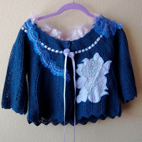 Blue cardigan sweater shrug lilac lace applique wedding bridal mother of the bride