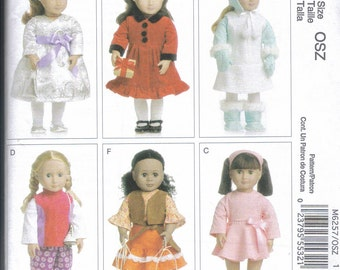 "18""doll outfits Pattern McCall's 6257  dress coat leotard pants boots  and more  FREE SHIPPING"