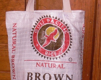Recycled Brown Rice bag tote shopping bag purse