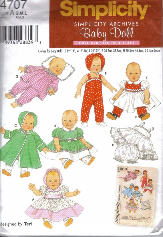 Baby doll outfits Pattern Simplicity Archives 4707 3 sizes  dress coat PJs top overalls FREE U.S. SHIPPING