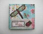 Mixed Media Collage Dragonfly Sparkle & Shine