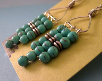 ON SALE Turquoise Magnesite Abacus Earrings