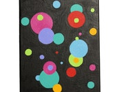 Black with Red, Pink, Green, Orange, & Blue Circles - Geometric Acrylic Art Painting - Free Shipping