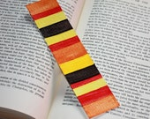 Watercolor Art: Red, Brown, Orange, Yellow & Rust - Hand Painted Bookmark - Free Shipping
