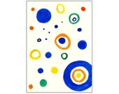 Tori Amos Inspired Watercolor ACEO - Blue, Orange, Yellow & Green Multicolored Circles