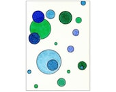 Tori Amos Inspired ACEO - Emerald Green, Forest Green, Dark Blue, Sky Blue Circles - Original Watercolor Painting